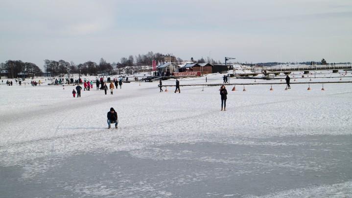 Walking on the ice at Kaivopuisto Helsinki